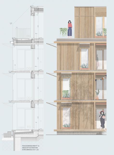 HOLZ/Viertel Fassadenschnitt